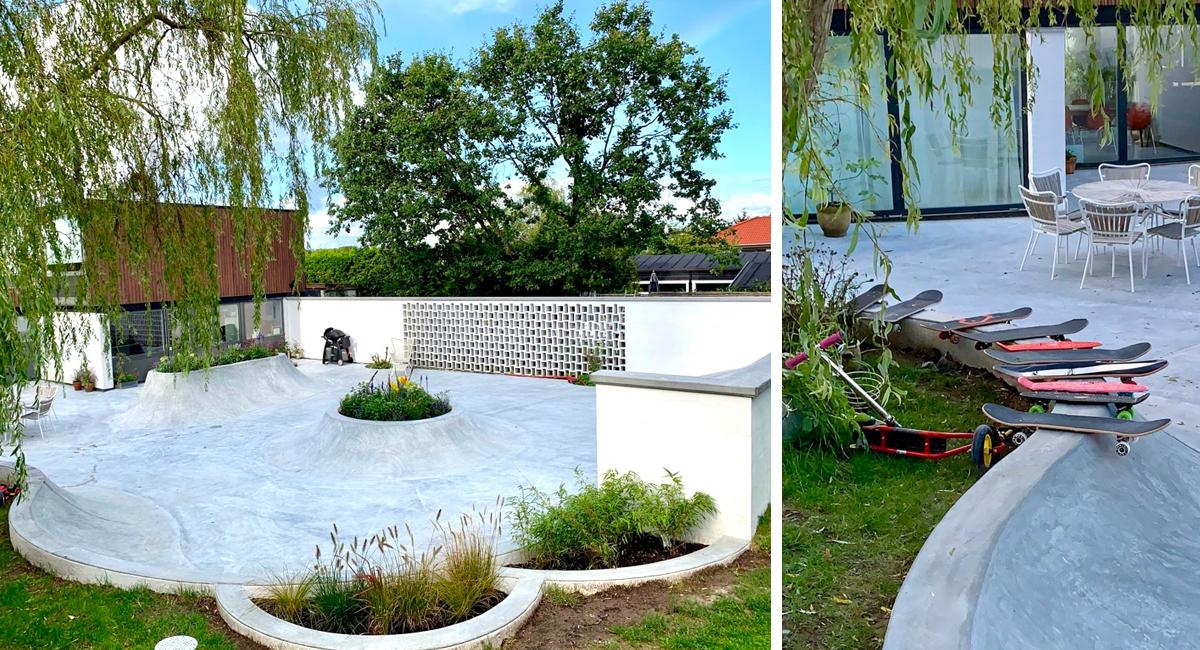 Her ses en stor terrasse i beton i en privat have. Terrassen ender i flere ramper, som kan skates.