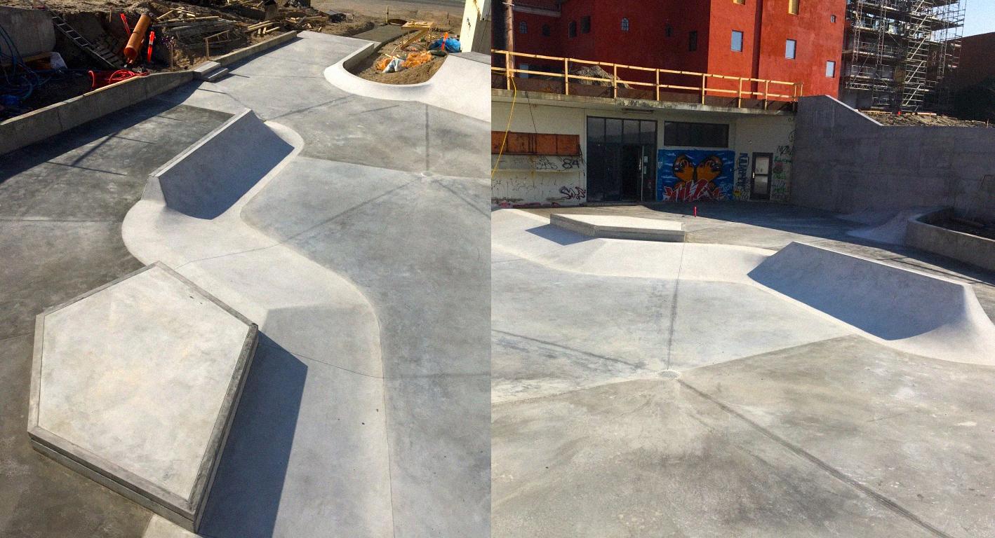 Billedet er delt i to. Til venstre ses betonramper ovenfra. Til højre ses betonramper ligepå med Ebeltofts gamle Maltfabrik i baggrunden