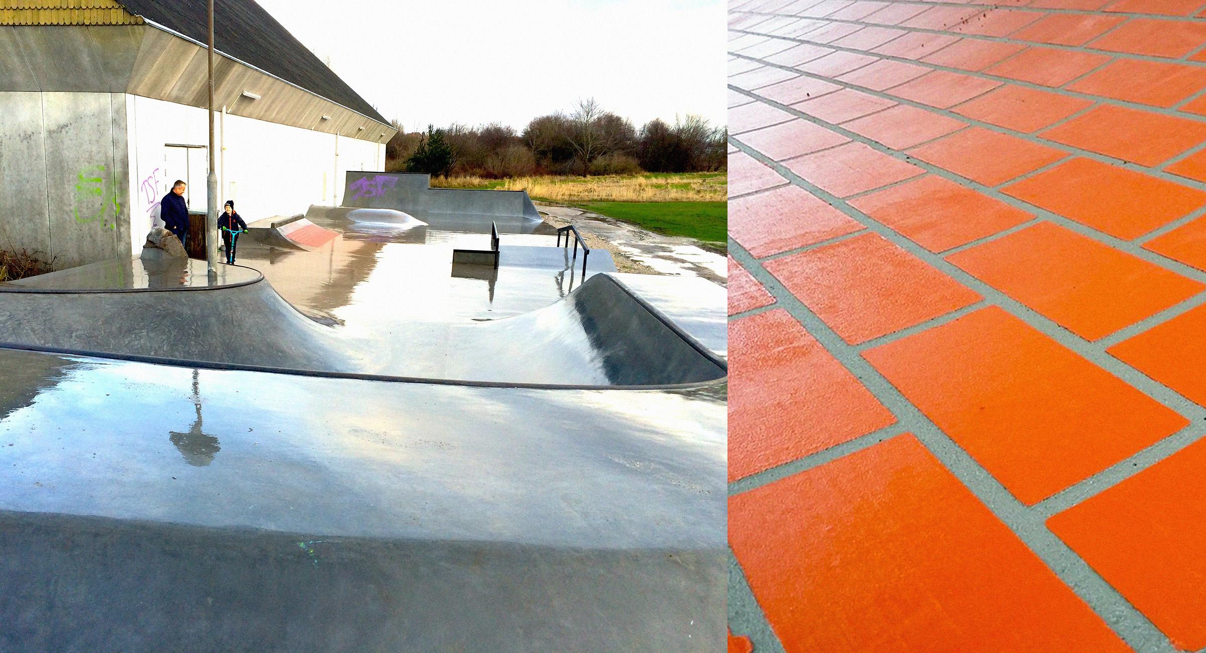 Billedet viser en skatepark i beton og et nærbillede af mursten støbt ned i en quarter