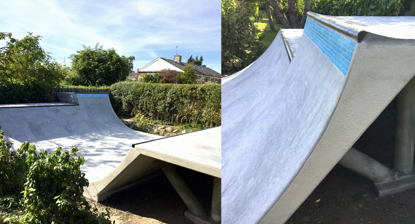 Et todelt billede viser en minirampe set fra siden og et nærbillede af de forskellige højder